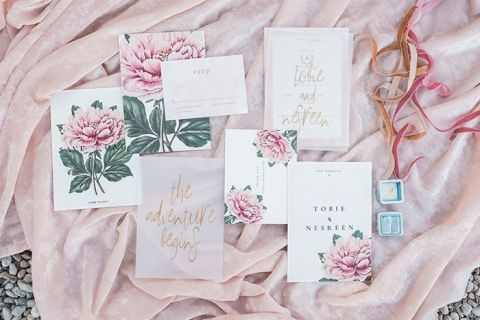 Peony Print Invitations for Destination Elooement