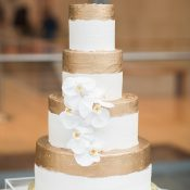 Modern Gold Brushed Wedding Cake