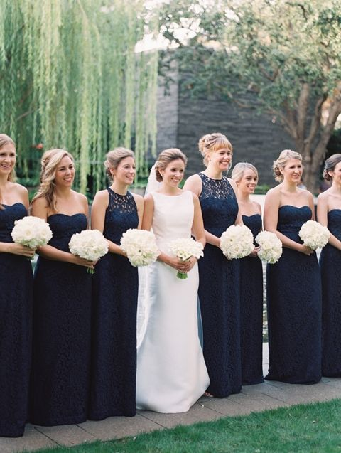 Mismatched Bridesmaids in Navy Lace Dresses