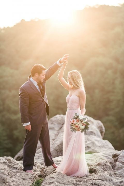 Breathtaking Engagement Shoot in Blush and Gray