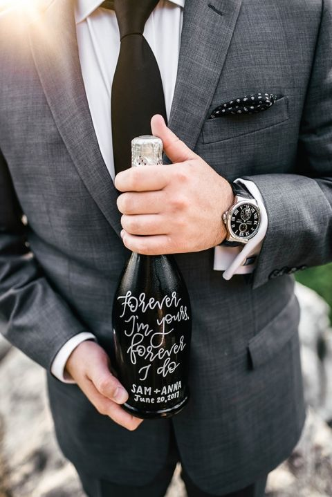 Hand Lettered Champagne Bottle Engagement Announcement