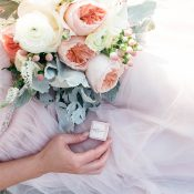 Bride to Be in Blush with a Pink and Gray Bouquet