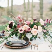 Dusty Purple and Mauve Centerpiece with Slate Blue Table Decor