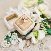 Vintage Engagement Ring with Dusty Gold and Greenery