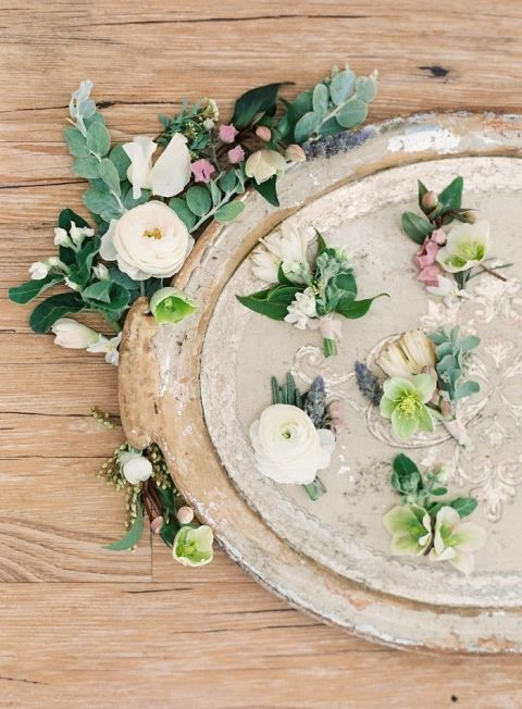 Greenery Boutonnieres on a Vintage Gold Tray