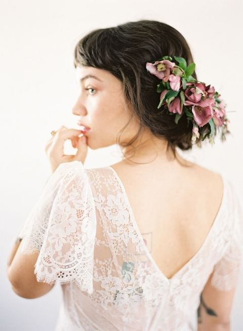 Romantic Lace Cap Sleeve Wedding Dress with a Mauve Flower Crown
