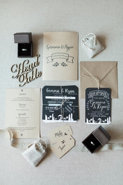 Modern Neutral Wedding Invitations with Chalkboard Details