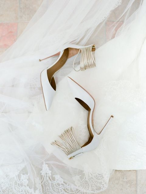 Modern White and Gold Wedding Shoes