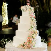Colorful Sugar Flower Wedding Cake
