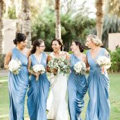 Romantic Blue Bridesmaid Dresses for a Tuscan Inspired Wedding in Dubai