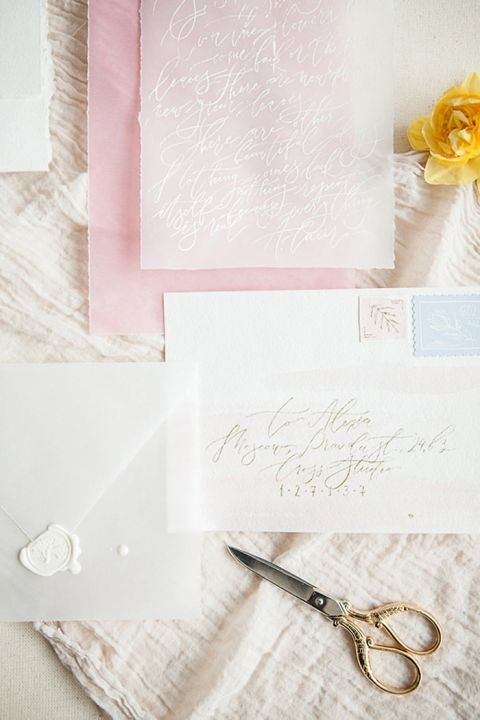 White Ink and Vellum Wedding Invitation Suite