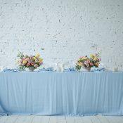 White Brick and Pastel Blue Wedding Reception