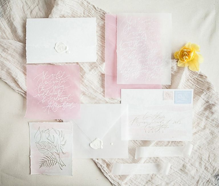 Pastel Pink and Yellow Wedding Stationery Suite