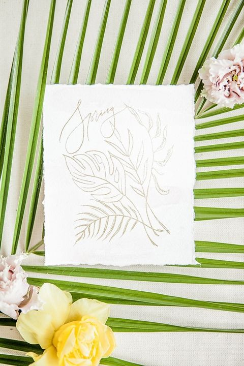 Tropical Greenery Floral Sketch