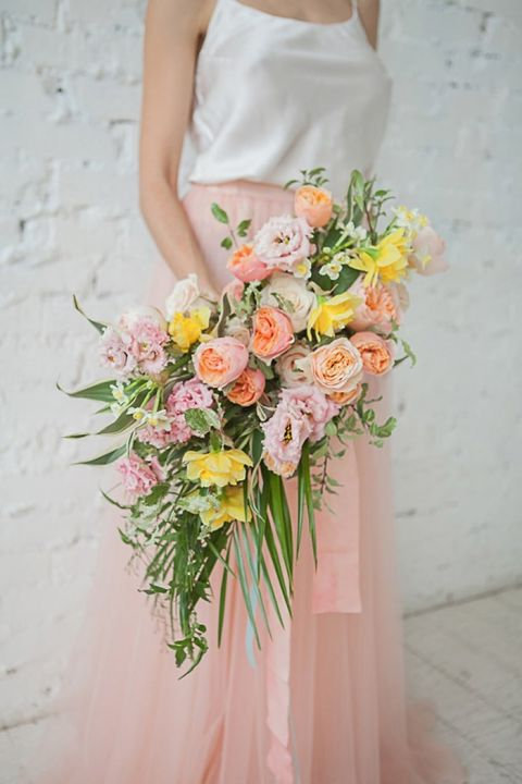 Neon spring flowers for a tropical wedding hey wedding lady modern pastel bouquet for a neon spring bridal shoot mightylinksfo