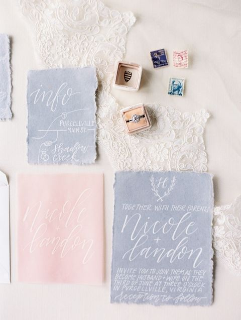 Hand Made Paper Invitations with White Ink