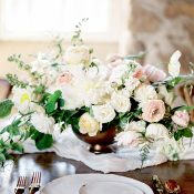 Countryside Wedding with Garden Flowers and Hand Crafted Gold Dipped Plates