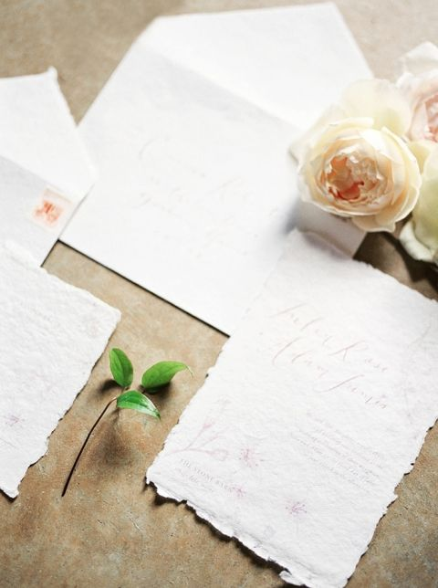 Handmade Paper Invitations with a Floral Print