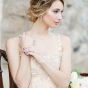 Champagne Embroidered Wedding Dress with a Romantic Bridal Hairstyle