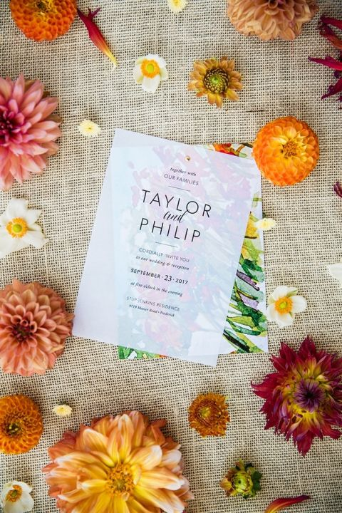 Colorful Hand Painted Wedding Invitation with Bright Summer Flowers