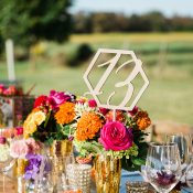 Gold Geometric Table Number with Bold Modern Flowers