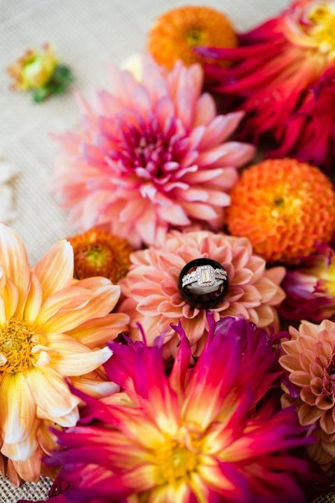 Colorful Summer Flowers with the Bride's Engagement Ring
