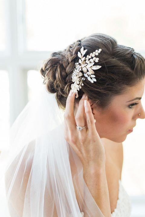 Romantic Wedding Hairstyle with a Delicate Bridal Headpiece