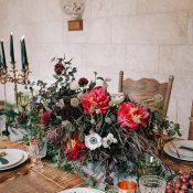 Luxe Organic Wedding Tablescape in Garnet and Emerald