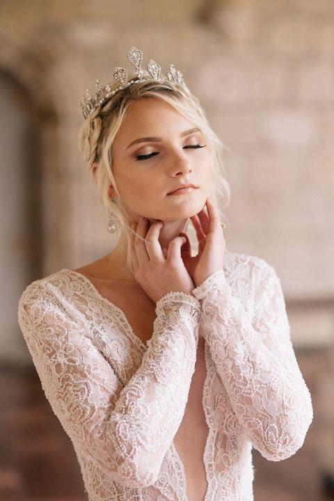 Dramatic Wedding Dress with a Plunging Neckline