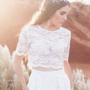 Lace Crop Top for a Relaxed Bohemian Bride