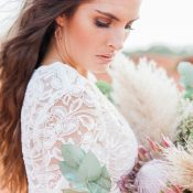 Natural Bohemian Bridal Beauty with a Protea Bouquet