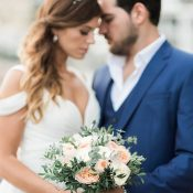 Sweet Peach and Navy Blue Amalfi Coast Elopement