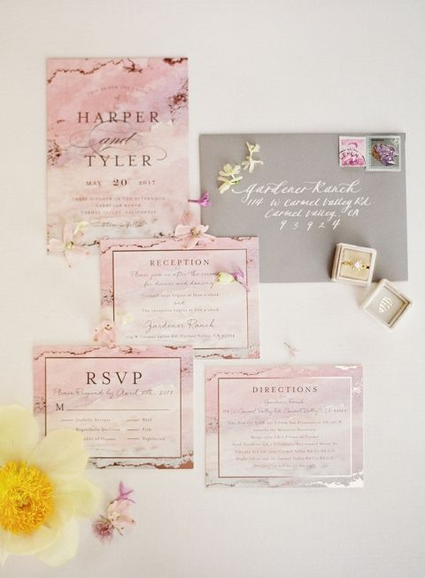 Lavender and Rose Gold Wedding Invitation Suite