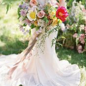 Crochet Lace Bohemian Wedding Dress with Colorful Garden Flowers