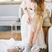 Chic Bohemian Bridal Style with Something Blue Shoes