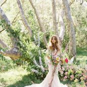Enchanting Floral Ceremony Backdrop for a Romantic Ranch Wedding