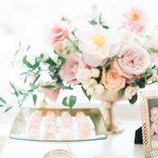 Marbled Cake Gems with Gold Leaf and Blush Flowers