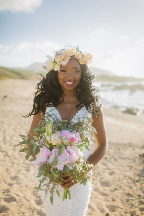Lei Inspired Floral Headpiece for a Hawaiian Bride