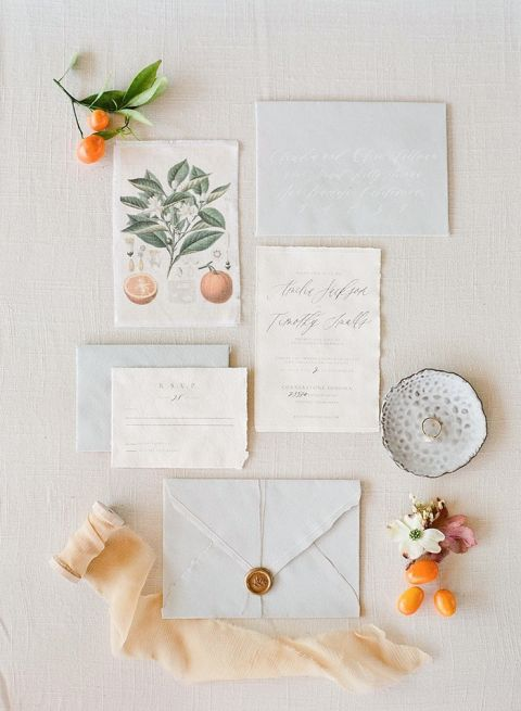Vintage Botanical Inspired Wedding Invitations in Citrus and Gray