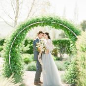 Greenery Archway for a Modern Winery Wedding Ceremony
