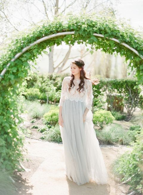 Romantic Bridal Separates in Gray Tulle and Lace