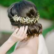 Grecian Inspired Hairstyle with a Gold Laurel Headpiece