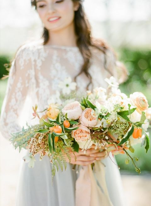 Botanical Citrus Bridal Bouquet in Pale Orange