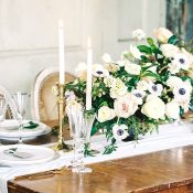 Black and White and Blush Centerpiece with Antique Gold Decor