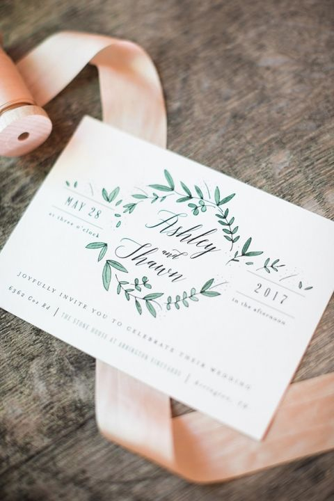 Greenery Wreath Invitations
