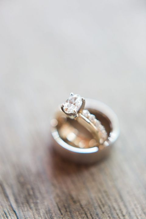 Oval Engagement Ring and Diamond Wedding Bands