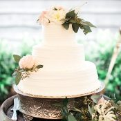 Layered White Wed White Cake with Fresh Flowers