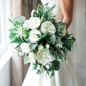 White Peony Bouquet with Summer Greenery