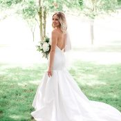 Structural Satin Wedding Dress with a Low Back