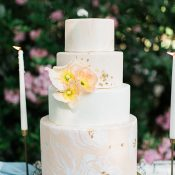 Peach and Gold Watercolor Wedding Cake